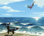 alternate_color clouds crobat day flying footprints gen_2_pokemon highres looking_to_the_side no_humans ocean outdoors pokemon pokemon_(creature) sand shiny_pokemon shore sky two_pokemon umbreon water