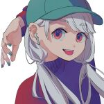 1girl absurdres aqua_headwear aqua_nails bangs eyebrows_visible_through_hair grey_hair highres long_hair long_sleeves looking_at_viewer original red_eyes ritao_kamo simple_background solo sweater tongue tongue_out twintails upper_body white_background