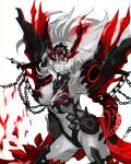 1girl absurdres black_sclera breasts chain clenched_teeth colored_sclera fate/grand_order fate_(series) gawain_(fairy_knight)_(fate) green_eyes greyscale highres large_breasts long_hair monochrome onasu_(sawagani) red_eyes spot_color teeth