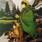 1boy 1girl blonde_hair cape child english_text fishing forest green_cape highres hild_(vinland_saga) karli lake looking_to_the_side nature outdoors redhead viking vinland_saga