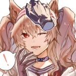 ! 1girl angelina_(arknights) animal_ears arknights black_choker black_gloves brown_hair chern0 choker disembodied_limb fox_ears gloves hairband hand_up headpat infection_monitor_(arknights) long_hair looking_at_viewer one_eye_closed open_mouth petting portrait red_eyes red_hairband shirt simple_background spoken_exclamation_mark twintails white_background white_shirt