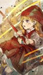 1girl absurdres bangs blonde_hair blue_eyes braid commentary_request dirty dirty_face dragon_quest dragon_quest_xi dress eyebrows_visible_through_hair highres hiranko holding looking_away pleated_dress puffy_short_sleeves puffy_sleeves red_dress red_headwear shirt short_sleeves sleeveless sleeveless_dress solo twin_braids veronica_(dq11) white_shirt