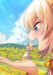 >_< 2girls akai_haato arms_up bangs blonde_hair blue_eyes blue_sky blush clouds commentary_request day dress eyebrows_visible_through_hair face field flower flower_field flying_sweatdrops forced_perspective hair_between_eyes hands highres hololive horns magowasabi multiple_girls open_mouth outdoors overskirt profile red_legwear red_ribbon ribbon sailor_collar sheep_girl sheep_horns short_sleeves signature skirt sky socks striped tsunomaki_watame twintails upper_teeth vertical-striped_dress vertical_stripes virtual_youtuber white_dress white_sailor_collar white_skirt yellow_flower