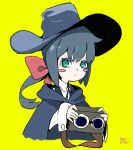 1girl aqua_eyes bangs blue_cape blue_hair blue_headwear blue_ribbon blush cape closed_mouth collared_shirt constanze_amalie_von_braunschbank-albrechtsberger hat little_witch_academia low_ponytail red_ribbon ribbon shirt thick_eyebrows vaiomx90 witch witch_hat yellow_background