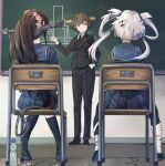 3girls anger_vein artist_name black_suit blue_eyes blue_serafuku bottle breasts brown_hair chair chalk chalkboard classroom commentary_request dated desk floor flower formal from_behind hair_flower hair_ornament hand_in_pocket head_tilt hiei_(kancolle) highres himeyamato kantai_collection knees_together_feet_apart long_hair multiple_girls musashi_(kancolle) pointy_hair ponytail sailor_collar sailor_shirt school_chair school_desk school_uniform serafuku shirt short_hair sitting sleeping spread_legs suit very_long_hair water_bottle yamato_(kancolle) zzz