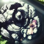 1girl animal animal_ears annie_hastur backpack bag chinese_commentary closed_mouth commentary_request ejami highres league_of_legends pink_hair short_hair skirt socks stuffed_animal stuffed_toy teddy_bear