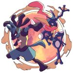 closed_mouth commentary_request gen_4_pokemon gen_6_pokemon greninja highres leg_up looking_back lucario orange_eyes outstretched_arm pokemon pokemon_(creature) smoke spikes toes tongue yellow_fur yottur