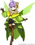 1girl antenna_hair bare_shoulders black_shorts boots breasts brown_footwear brown_gloves detached_collar dress fairy fairy_wings fate/extra fate/extra_ccc fate/extra_ccc_fox_tail fate/grand_order fate_(series) full_body gloves green_dress hair_ribbon kazuradrop_(fate) long_sleeves looking_at_viewer official_art purple_hair ribbon short_hair shorts small_breasts solo thigh-highs thigh_boots violet_eyes wada_arco wings yellow_ribbon