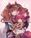 2girls angelina_(arknights) animal_ears arknights black_collar black_gloves black_shirt brown_hair collar diamond-shaped_pupils diamond_(shape) dress earpiece fox_ears fox_girl fox_tail gloves hair_ornament hairband hand_on_another's_shoulder highres holding holding_stuffed_toy infection_monitor_(arknights) jacket knife long_hair looking_at_viewer multiple_girls noinoi5551 one_eye_closed open_clothes open_jacket pink_dress pink_eyes pink_hair red_eyes red_hairband see-through shamare_(arknights) shirt smile stuffed_toy symbol-shaped_pupils tail torn_clothes twintails upper_body v white_jacket
