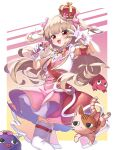 1girl :d absurdres armband belt blush bunny_hair_ornament cowboy_shot crown dress fang hair_ornament highres holding holding_microphone huge_filesize idol light_brown_hair long_hair looking_at_viewer microphone natori_sana neko7 open_mouth pink_dress red_eyes sana_channel short_dress skin_fang smile solo thigh-highs tilted_headwear two_side_up vest virtual_youtuber white_background white_legwear