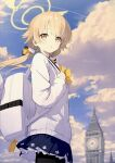 1girl backpack bag bangs black_legwear blonde_hair blue_skirt buttons cardigan character_request clouds commentary_request copyright_request day eyelashes film_grain from_below halo hand_up highres holding_strap long_hair long_sleeves outdoors pantyhose parted_lips pleated_skirt shiny shiny_hair skirt sky solo tower twintails wasabi60 white_bag white_cardigan yellow_eyes