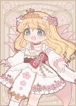 1girl :d alternate_costume aqua_eyes bangs black_sash blonde_hair bow choker cowboy_shot detached_sleeves dress eyebrows_visible_through_hair fairy_wings floral_print flower hair_flower hair_ornament headdress highres japanese_clothes lily_white long_hair looking_at_viewer open_mouth pink_flower pink_wings red_bow red_neckwear sakurasaka sash smile solo standing touhou white_dress wide_sleeves wings