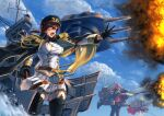 3girls agenakataira777 aiguillette artillery azur_lane black_coat black_gloves black_headwear black_legwear black_skirt blonde_hair blue_sky breasts buttons cane cape clouds coat double-breasted duke_of_york_(azur_lane) epaulettes fire gloves gold_trim gun half_gloves hat holding holding_cane holding_sword holding_weapon jacket large_breasts long_hair military military_uniform miniskirt monarch_(azur_lane) multiple_girls naval_uniform open_clothes open_coat open_mouth outstretched_arm pantyhose peaked_cap pink_hair pleated_skirt prince_of_wales_(azur_lane) rapier red_cape red_eyes red_jacket rigging skirt sky smoke smoking_gun sword thigh-highs uniform weapon white_jacket white_legwear white_skirt zettai_ryouiki