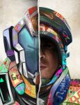 2boys abstract call_of_duty:_black_ops_cold_war colorful girls'_frontline graffiti hammer_and_sickle highres kcco_(girls'_frontline) looking_at_viewer mask military military_uniform multiple_boys parabellum paradeus parody reflection russian_text serious soldier turret uniform