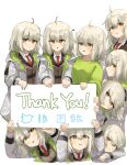 6+girls absurdres ahoge arknights blonde_hair brown_jacket clone coat green_shirt hair_ornament heart highres holding holding_sign jacket korean_commentary looking_at_viewer looking_up milestone_celebration multiple_girls necktie open_mouth polyvora red_neckwear scene_(arknights) shirt short_hair sign simple_background white_background white_coat white_shirt yellow_eyes