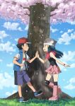 1boy 1girl ash_ketchum baseball_cap beanie black_hair black_legwear blue_jacket boots clouds commentary dawn_(pokemon) day from_side grass grin hat highres jacket outdoors over-kneehighs petals pink_footwear pink_scarf pokemon pokemon_(anime) pokemon_dppt_(anime) pokemon_swsh_(anime) red_headwear scarf shirt shoes short_hair short_sleeves shorts sky sleeveless sleeveless_jacket smile standing suitenan t-shirt teeth thigh-highs tree white_headwear white_shirt