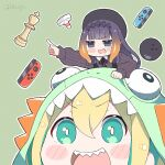 2girls air_hockey_mallet amano_pikamee ball bangs blonde_hair blue_eyes blush blush_stickers bowling_ball carrying chess_piece commentary dinosaur_hood eyebrows_visible_through_hair green_eyes green_hair hat hololive joy-con kukie-nyan long_hair multicolored_hair multiple_girls ninomae_ina'nis open_mouth piggyback pointing pointy_ears purple_hair sharp_teeth simple_background smile striped striped_background teeth tentacle_hair twitter_username two-tone_hair virtual_youtuber voms