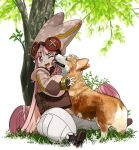 bag baggy_pants boots face_licking fate/grand_order fate_(series) grass habetrot_(fate) hat highres hirai_yukio licking long_hair one_eye_closed pants pink_hair pointy_ears sitting tree welsh_corgi