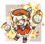 1girl :d backpack bag bangs blunt_bangs boots brown_footwear brown_gloves brown_scarf cabbie_hat chibi clover_print coat commentary_request explosion full_body genshin_impact gloves hair_between_eyes hat hat_feather hat_ornament highres jumpy_dumpty klee_(genshin_impact) light_brown_hair long_hair long_sleeves looking_at_viewer mame_(seki-souha) open_mouth orange_eyes outstretched_arms pointy_ears red_coat scarf sidelocks simple_background smile solo spread_arms standing standing_on_one_leg thigh-highs thigh_boots two-tone_background