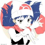 1girl beanie blue_hair commentary_request eyelashes fingernails floating_scarf hair_ornament hairclip hands_up hat highres jewelry kibisakura2 long_hair looking_at_viewer open_mouth platinum_berlitz pokemon pokemon_adventures ring scarf sleeveless solo spread_fingers twitter_username upper_body upper_teeth white_headwear yellow_eyes