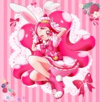 1girl ;q animal_ears boots brooch cake cake_hair_ornament cure_whip double_v dress earrings extra_ears food food-themed_hair_ornament food-themed_ornament forehead fruit full_body hair_ornament highres jewelry kirakira_precure_a_la_mode long_hair magical_girl one_eye_closed pink_background pink_dress pink_eyes pink_footwear pink_hair pink_ribbon pom_pom_(clothes) pom_pom_earrings precure rabbit ribbon short_sleeves skirt solo strawberry strawberry_shortcake strawberrylove2525 striped striped_background tongue tongue_out twintails usami_ichika v very_long_hair whip whipped_cream