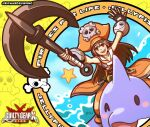 1girl anchor brown_eyes brown_hair dolphin fingerless_gloves gloves guilty_gear hat long_hair may_(guilty_gear) open_mouth orange_headwear pirate_hat richard_suwono skull_and_crossbones smile water