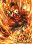 1boy arm_up bangs belt boots cape company_name fire fire_emblem fire_emblem:_radiant_dawn fire_emblem_cipher headband holding holding_weapon indoors magic male_focus official_art open_mouth shorts solo takaya_tomohide tormod_(fire_emblem) weapon