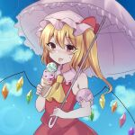 1girl armband ascot bangs blonde_hair blue_sky clouds cowboy_shot crystal eyebrows_visible_through_hair flandre_scarlet food hat hat_ribbon highres holding holding_food holding_umbrella ice_cream light_particles looking_at_viewer medium_hair mob_cap open_mouth outdoors parasol red_eyes red_ribbon red_shirt red_skirt ribbon shirt side_ponytail skirt sky sleeveless sleeveless_shirt smile solo standing subaru_(subachoco) sweatdrop tongue tongue_out touhou umbrella white_headwear white_umbrella wings yellow_neckwear
