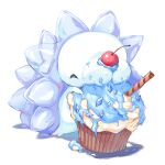 cherry chobonolly closed_eyes commentary_request cupcake eating food food_on_face fruit gen_8_pokemon highres mixed-language_commentary no_humans pokemon pokemon_(creature) snom solo white_background