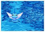 :< absurdres border brown_eyes closed_mouth commentary_request film_grain gen_1_pokemon highres huge_filesize looking_up no_humans pokemon pokemon_(creature) ripples saiku_(zvlku) shiny solo vaporeon water white_border
