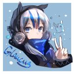 1girl arknights bangs blue_eyes blue_hair bubble character_name detached_hood double_bun expressionless eyebrows_visible_through_hair glaucus_(arknights) hood long_sleeves multicolored_hair solo streaked_hair tianye_toshi upper_body v