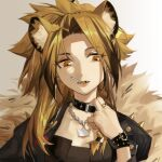 1girl adjusting_clothes animal_ears arknights black_choker black_jacket brown_eyes brown_hair candy chinese_commentary choker collarbone commentary_request earrings fangs five-fall food hand_up hoop_earrings jacket jewelry lion_ears lollipop long_hair mouth_hold nail_polish official_alternate_costume open_mouth siege_(arknights) solo upper_body