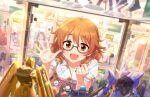 araki_hina blush brown_eyes brown_hair dress glasses idolmaster_cinderella_girls_starlight_stage short_hair smile