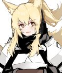 1girl animal_ears aogisa arknights armor blonde_hair hair_between_eyes headset highres horse_ears horse_girl horse_tail implied_extra_ears long_hair looking_at_viewer nearl_(arknights) open_mouth ponytail simple_background solo tail upper_body white_background yellow_eyes