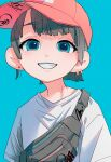 1girl absurdres aqua_background aqua_eyes earrings grey_hair hat highres huge_filesize jewelry looking_at_viewer original parted_lips pink_headwear ritao_kamo shirt short_hair simple_background smile solo upper_body white_shirt