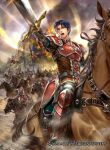armor bangs blue_eyes blue_hair boots burning castle company_name fire_emblem fire_emblem:_radiant_dawn fire_emblem_cipher holding holding_sword holding_weapon horseback_riding official_art open_mouth riding sword taneda_kazuhiro weapon