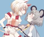 2girls animal_ears bangs bell black_neckwear black_wristband blue_background blue_cape blush cape cat_ears cat_tail dress eyebrows_visible_through_hair goutokuji_mike grey_dress grey_hair hand_on_hip hand_up highres long_sleeves looking_at_another mouse_ears mouse_tail multicolored multicolored_clothes multicolored_shirt multicolored_shorts multiple_girls nazrin neck_bell open_mouth puffy_short_sleeves puffy_sleeves red_eyes shirt short_hair short_sleeves shorts simple_background smile t-shirt tail teeth toraneko_2 touhou unconnected_marketeers white_hair white_shirt white_shorts wristband yuri