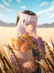 1girl absurdres arknights bag baguette bangs black_headwear blue_sky bread closed_mouth clouds cloudy_sky dated_commentary day eyebrows_visible_through_hair food hat highres holding holding_bag kuroka_tori long_sleeves looking_at_viewer mountainous_horizon official_alternate_costume outdoors owl_ears ptilopsis_(arknights) ptilopsis_(serenity)_(arknights) short_hair silver_hair sky solo upper_body watch wheat_field yellow_eyes