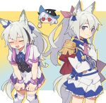 3girls :d alternate_costume animal_ears arknights black_headwear blue_bow blue_skirt bow brown_hair closed_eyes cosplay cowboy_shot d.y.x. dress dual_persona ear_ribbon epaulettes gloves grani_(arknights) grey_eyes hair_between_eyes hair_bow hand_on_own_chest hat horse_ears horse_girl horse_tail leaning_forward long_hair looking_at_viewer multiple_girls open_mouth pink_bow pink_neckwear ponytail puffy_short_sleeves puffy_sleeves purple_dress red_eyes school_uniform short_hair short_sleeves single_epaulette skadi_(arknights) skirt smile solo special_week_(umamusume) special_week_(umamusume)_(cosplay) standing tail thigh-highs thumbs_up tokai_teio_(umamusume) tokai_teio_(umamusume)_(cosplay) umamusume very_long_hair white_gloves white_legwear wrist_cuffs