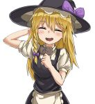 1girl apron bangs black_headwear black_skirt black_vest blonde_hair blush bow braid candy chocolate chocolate_heart closed_eyes commentary_request cookie_(touhou) cowboy_shot eyebrows_visible_through_hair food hair_between_eyes hair_bow hat hat_bow heart highres holding holding_chocolate holding_food kirisame_marisa long_hair nob1109 open_mouth puffy_short_sleeves puffy_sleeves purple_bow shirt short_sleeves side_braid simple_background single_braid skirt solo touhou uzuki_(cookie) vest waist_apron white_apron white_background white_shirt witch_hat