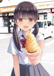 1girl :d bangs blush bow bowtie brown_eyes brown_hair building car chikuwa_(odennabe) collared_shirt food grey_skirt ground_vehicle highres holding holding_food ice_cream ice_cream_cone long_hair looking_at_viewer motor_vehicle open_mouth original outdoors outstretched_arm parking_lot pleated_skirt red_bow red_neckwear school_uniform shirt shop short_sleeves skirt smile solo standing twintails white_shirt