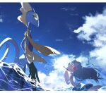 aya_(ayamenora) closed_eyes closed_mouth clouds commentary_request day from_below gen_7_pokemon gen_8_pokemon highres inteleon letterboxed no_humans open_mouth outdoors pokemon pokemon_(creature) primarina sky smile standing tongue water yellow_eyes |d