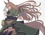 1girl amano_haruka_(sakogamitokuan) animal_ears black_legwear black_neckwear bow breasts brown_hair cowboy_shot dress floating_hair frilled_sleeves frills gem green_bow green_dress hair_bow highres horse_ears horse_girl horse_tail large_breasts long_hair looking_at_viewer red_eyes satono_diamond simple_background sleeves_past_wrists solo sparkle tail thigh-highs umamusume very_long_hair white_background
