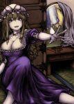 2girls blonde_hair breasts detached_collar drawer dress elbow_gloves frilled_dress frills gloves hat hat_ribbon large_breasts long_hair mirror mob_cap multiple_girls puffy_short_sleeves puffy_sleeves purple_dress red_neckwear red_ribbon ribbon short_sleeves smile touhou violet_eyes yakumo_ran yakumo_yukari yuugatou_(yuuzutu)