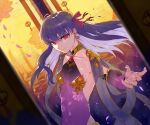 1girl absurdres demon_girl earrings fate/grand_order fate_(series) flower hair_ribbon hakisou highres jewelry kama_(fate) long_hair looking_at_viewer lotus multicolored_hair petals purple_hair reaching_out red_eyes revealing_clothes ribbon white_hair