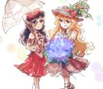 2girls blue_eyes bow brown_eyes brown_headwear brown_vest cabbie_hat detached_sleeves flat_cap flower frilled_hat frills hat hat_feather holding holding_flower holding_umbrella jacket_girl_(dipp) label_girl_(dipp) long_hair multiple_girls open_mouth owannu purple_hair red_skirt simple_background skirt touhou umbrella very_long_hair vest wavy_hair white_bow white_vest