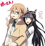 1boy 1girl :d aoki_shizumi bangs beige_jacket bespectacled black_hair black_nails blue_hair commentary_request danganronpa_(series) danganronpa_2:_goodbye_despair dress_shirt eyebrows_visible_through_hair fat fat_man from_side glasses gloves hair_horns hand_up hug hug_from_behind jacket large_hands long_hair looking_at_viewer mioda_ibuki multicolored_hair notice_lines open_clothes open_jacket open_mouth pink_eyes redhead shirt short_sleeves smile striped striped_gloves sweatdrop togami_byakuya_(danganronpa_2) translation_request upper_body v white_background white_shirt