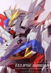 absurdres artist_name azzalea character_name eclipse_gundam english_commentary english_text from_side green_eyes grey_background gundam gundam_seed gundam_seed_eclipse highres looking_ahead mecha mobile_suit no_humans science_fiction solo upper_body v-fin