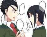 1boy 1girl aoki_shizumi bangs black_hair collared_shirt commentary_request danganronpa:_trigger_happy_havoc danganronpa_(series) freckles from_side green_jacket hand_up ikusaba_mukuro ishimaru_kiyotaka jacket looking_at_another necktie open_mouth red_neckwear shirt short_hair simple_background speech_bubble spiky_hair translation_request upper_teeth v-shaped_eyebrows white_shirt