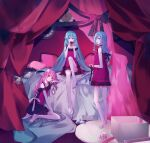 3girls apple aqua_hair bare_legs bare_shoulders barefoot black_ribbon box camisole choker clock curtains food frilled_camisole fruit gift gift_box glass_slipper hair_ribbon hatsune_miku highres hinomori_shizuku holding holding_food holding_fruit kneeling lace-trimmed_camisole lace_trim light_blue_hair long_hair looking_at_viewer looking_back momoi_airi multiple_girls musubime_(nebbia0131) on_bed pillow pink_camisole pink_hair project_sekai red_apple ribbon roman_numeral romeo_to_cinderella_(vocaloid) sitting standing very_long_hair vocaloid